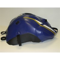Bagster Tank cover FZ 8 - baltic blue / white deco / gold yellow piping