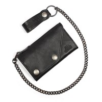 Helstons Black Leather Wallet & Chain