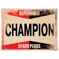 Retro Legends Champion Metal Sign