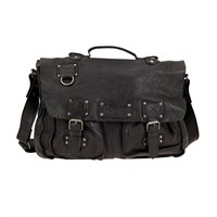 Norton Vintage Black Leather Satchel Bag