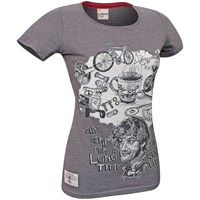 Red Torpedo Guy Martin Good Times Ladies T-Shirt - Graphite