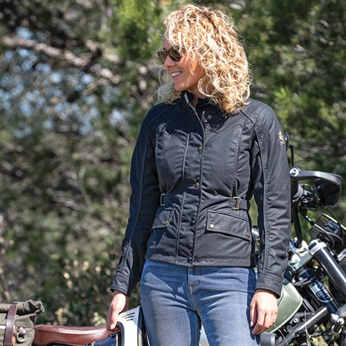 varios colores fotos nuevas disponibilidad en el reino unido Belstaff Tourmaster Pro wax cotton ladies jacket in black