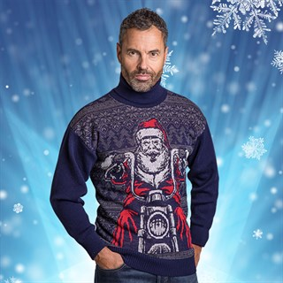 Motolegends Navy Christmas JumperAlternative Image1