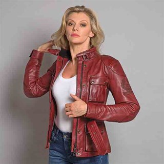 Belstaff Trialmaster ladies leather jacket in redAlternative Image2