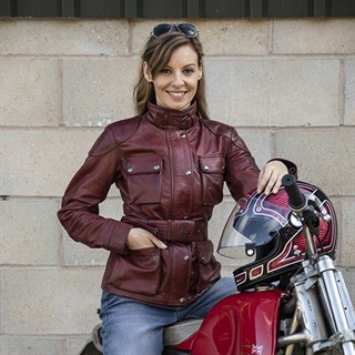 Belstaff Trialmaster ladies leather jacket in redAlternative Image3