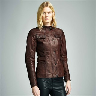 Belstaff Crystal Palace leather ladies jacket in brownAlternative Image2
