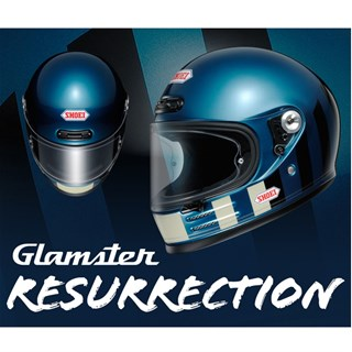 Shoei Glamster Resurrection TC5 helmet in blue & blackAlternative Image3