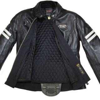 Spidi Ace Leather Ladies Jacket in black with ice stripesAlternative Image1