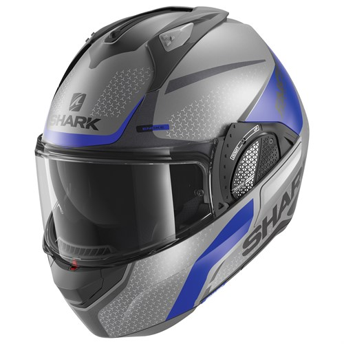 Shark Evo GT helmet Encke in matt grey / blue (ABK)