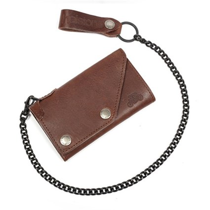 Helstons Leather wallet & Chain in brown