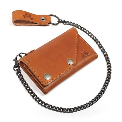 Helstons Leather wallet & chain in tan