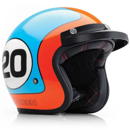 Bell motorcycle helmet in blue: replica of that worn by the actor and racer Steve McQueen in the film Le Mans