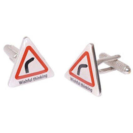 Wishful Thinking Road Sign Cufflinks