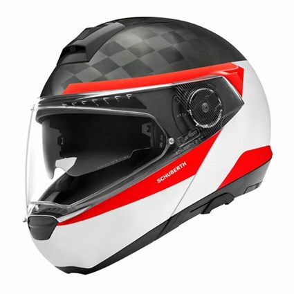 Schuberth C4 Pro Carbon Delta helmet in white/ red