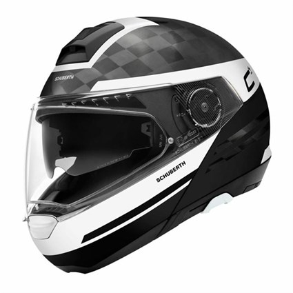 Schuberth C4 Pro Carbon Tempest helmet in white/ black