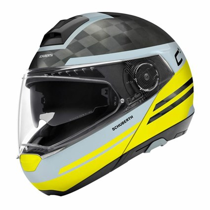 Schuberth C4 Pro Carbon Tempest helmet in yellow/ grey