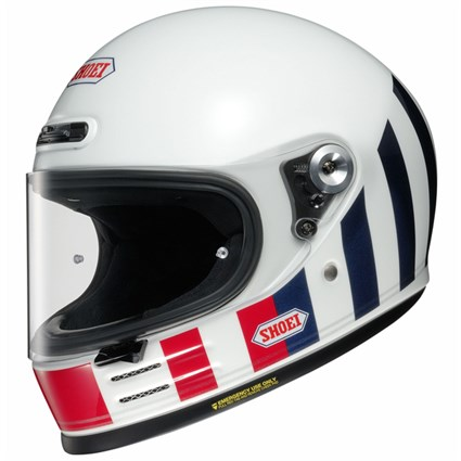 Shoei Glamster Resurrection TC10 helmet in white, red & blue