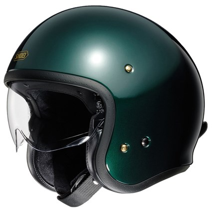 Shoei JO helmet in British green
