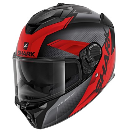 Shark Spartan GT Elgen MAT KAR helmet in grey/ red