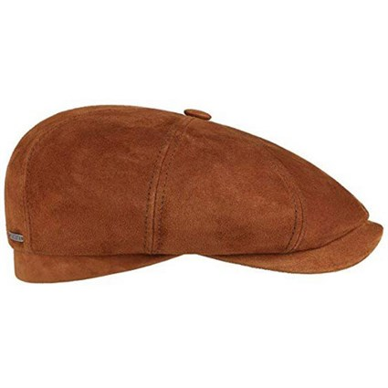 Stetson 6 Panel Goat Suede Flat Cap in tan