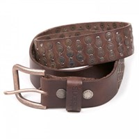 Helstons studded leather belt in brown
