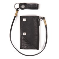 Helstons Old wallet and lanyard in black