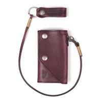 Helstons Old wallet and lanyard in bordeaux