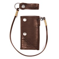 Helstons Old wallet and lanyard in brown