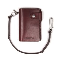 Helstons Moon wallet and lanyard in bordeaux