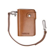 Helstons Moon wallet and lanyard in tan