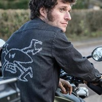 Red Torpedo Guy Martin Spanner Swarm denim Shirt