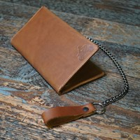 Lennie leather biker wallet in papaya with chain