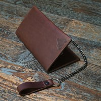 Lennie leather biker wallet in dark brown with chain