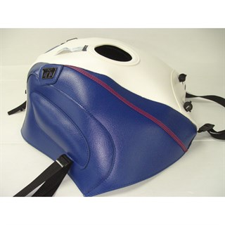 Bagster Tank cover FJ 1200 - white / blue / fuschia piping / blue stripe
