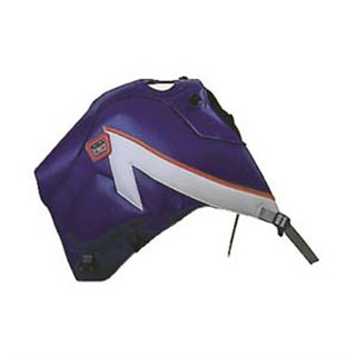 Bagster Tank cover XTZ 660 - blue / light grey stripe / fuschia piping