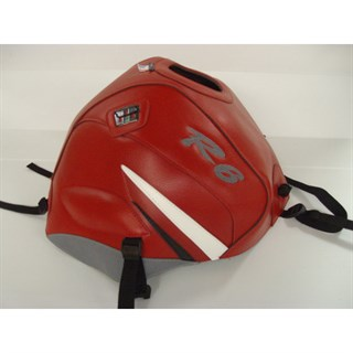 Bagster Tank cover YZF R6 - red / white and steel grey triangles