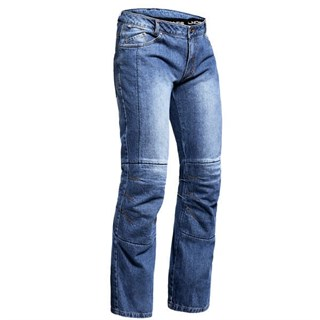 Halvarssons Wrap jeans short in blue light wash XXL