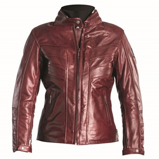 Helstons Sarah Perforated Ladies Leather jacket in wine 2XL