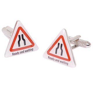 Ready And Waiting Road Sign Cufflinks