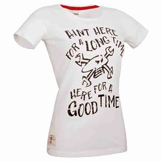 Red Torpedo Here For A Good Time Ladies T-shirt White 18
