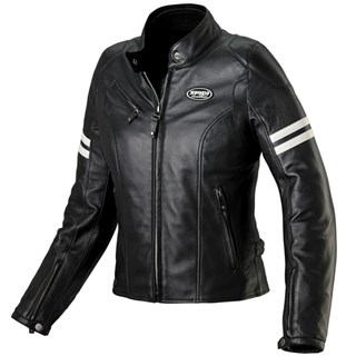Spidi Ace Leather Ladies Jacket in black with ice stripes