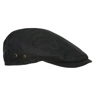 Stetson Driver Waxed Cotton Black Flat Cap