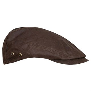 Stetson Driver Waxed Cotton Flat Cap in brown