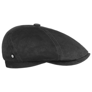 Stetson 6 Panel Goat Suede Flat Cap in black