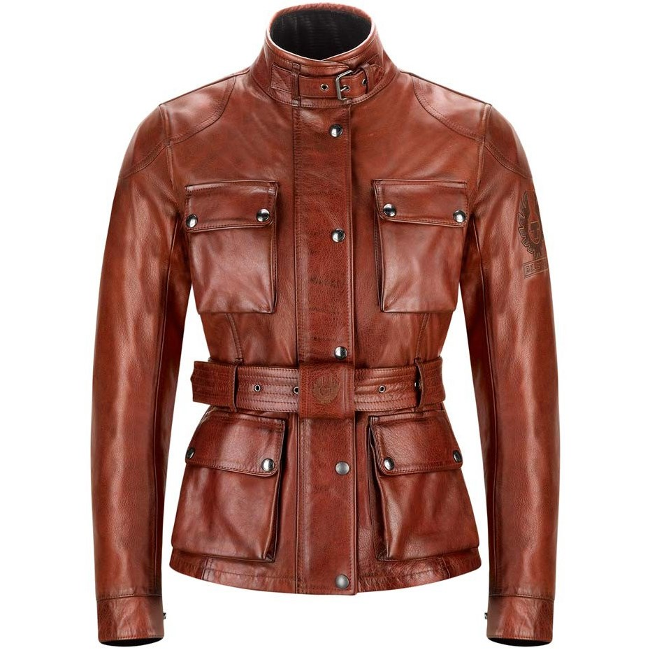 historia pegatina Seducir  Belstaff Trialmaster ladies leather jacket in red
