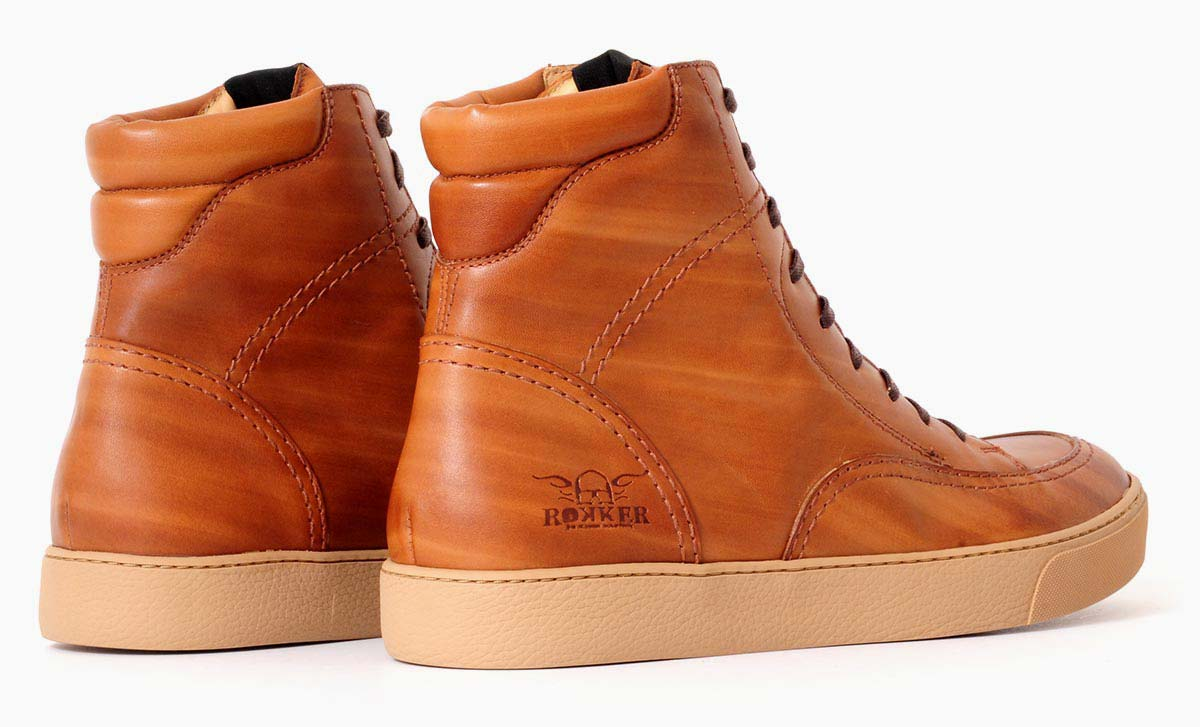 Rokker City Sneaker light brown back left to right