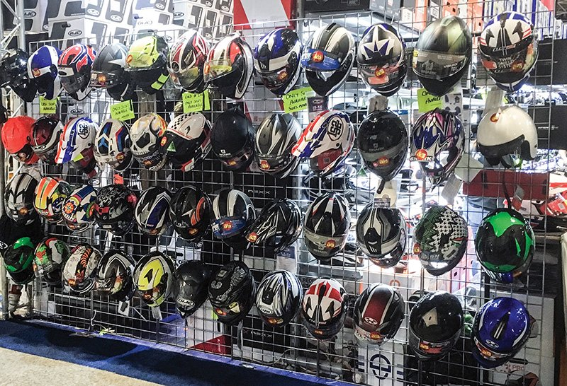Helmets at motorcycle show
