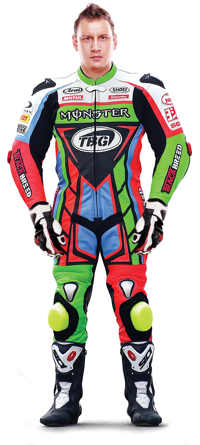 Man wearing one-piece motorcycle suit