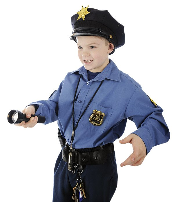 Kid dressed up as police officer